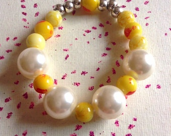 Yellow Glass Beaded Bracelet