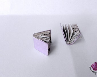 Book earrings,small books earrings,origami earrings,miniature earrings,gift for lovers of reading,paper earrings,gift for woman,small gift