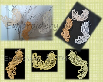 The set of birds-embroidery machine lace