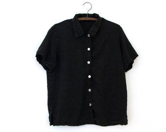 Shadow Top — vintage minimalist boxy black washed linen shirt, shell buttons // short-sleeve collared button-down blouse // small // medium