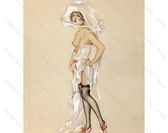 1920s Dressing up for a date, french stockings Lingerie Pinup Wall Art print poster  Reproduction Vintage Pin-up Girl Calendar girl 52p