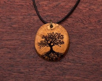 Tree of life, wood necklace, up to 3 cm, unique