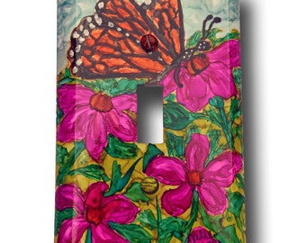 Hand Painted Switchplate Cover - Monarch Butterfly