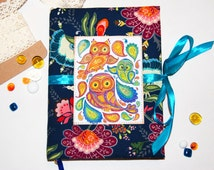 Notebook handmade journal diary owl multicolor flowers fabric Oriental style Paisley Vintage style Mother's Day gift woman for girlfriends