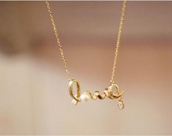 gold Alphabetical Love necklace