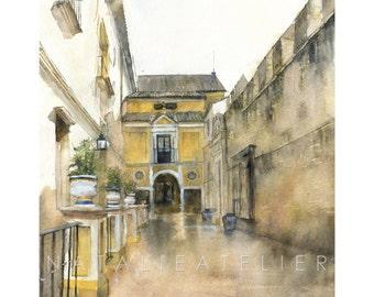 Sewilla II- watercolor print, architecture