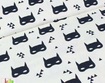 Andrea Lauren ORGANIC JERSEY Fabric - Bat Masks in Cream - UK Seller