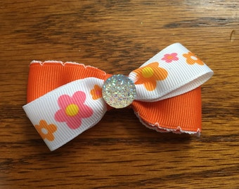 3 inch orange and flower hair bow