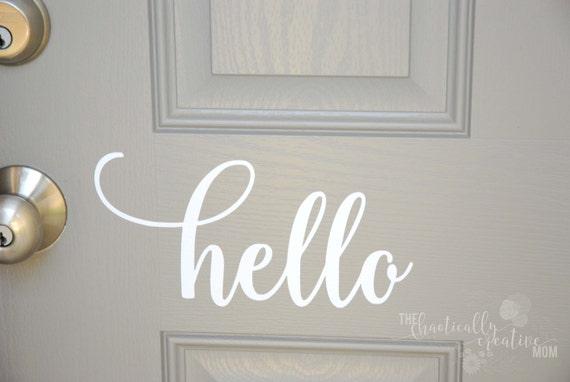 Hello Front Door Decal Hello Front Door Sticker Hello Vinyl