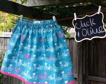 Handmade girls skirt with bicycle pattern