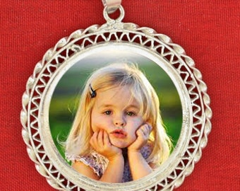 PUT YOUR PHOTO on Real Egyptian Silver Bezel Pendant Personalized