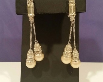 Rhinestone and Faux Pearl Dangle Drop Clip Earrings Bridal or Prom (JM105)