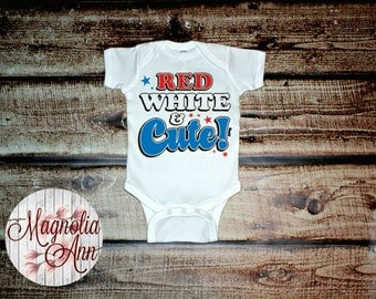 Red White & Cute Infant Lap Shoulder Creeper Bodysuit Sizes Newborn-24 Months