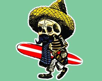 Day Of The Dead Surf Skeleton Vinyl Sticker Decal