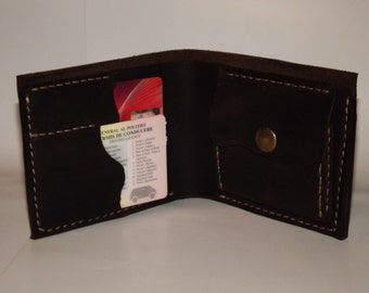 Genuine leather men's bifold wallet, with card pockets and coin pocket 100% handmade