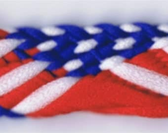 "72 Yard Spool of 1/2"" Patriotic Red, White and Blue Flat Braid Trim      #27697"