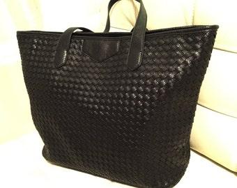 Basket Weave Genuine Leather Tote