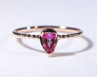 Pink Topaz Solitaire Ring with Beaded Band, Pink Topaz Ring, 14K Solid Gold Pink Topaz Ring
