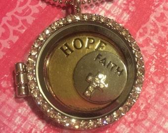 "20"" adjustable charm locket silver necklace"