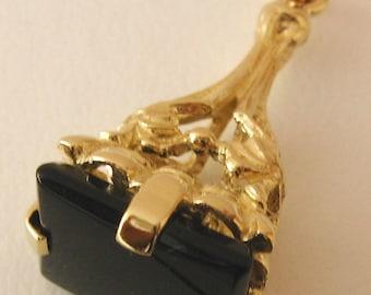 Genuine SOLID 9ct YELLOW GOLD Vintage Onyx Pendant