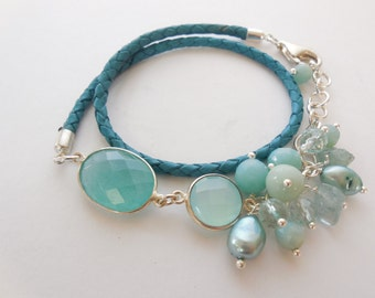 Leather Bracelet gems chalcedony