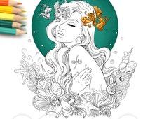 Adult Coloring Page Pisces Line Art