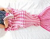 DARK PINK -  Kids Mermaid Crochet Tail Blanket, Mermaid Tail Kids, Crochet Mermaid Blanket, Crochet Blanket, Knit Blanket, Kids Blanket