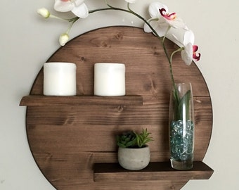 Modern Two-Tier Round Wooden Shelf - 17""