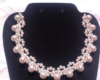 Pretty in pink pearl lace necklace