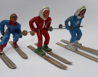 Vinatge Lead Ski Figurines