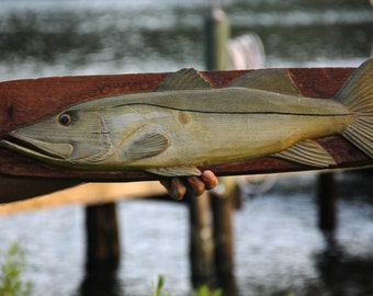 Reclaimed Wood Carved Snook Wall Art