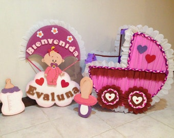 Baby Showers Girls. Set 4 pieces: baby carriage, 2 figure and welcome poster