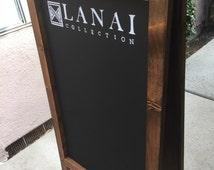 Custom Business Sign Logo Sandwichboard - Wooden Rustic Business Chalkboard Sandwich Board