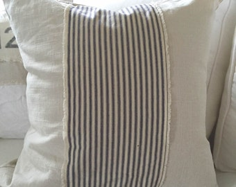 Pillow Cover, Off White Linen Blend with Frayed Ticking Stripe