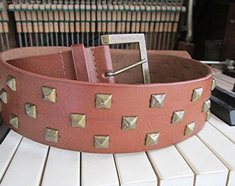 Leather belt tan leather belt tan belt studded belt studded leather belt brass studs brass buckle boho belt hippie belt vintage 90s.
