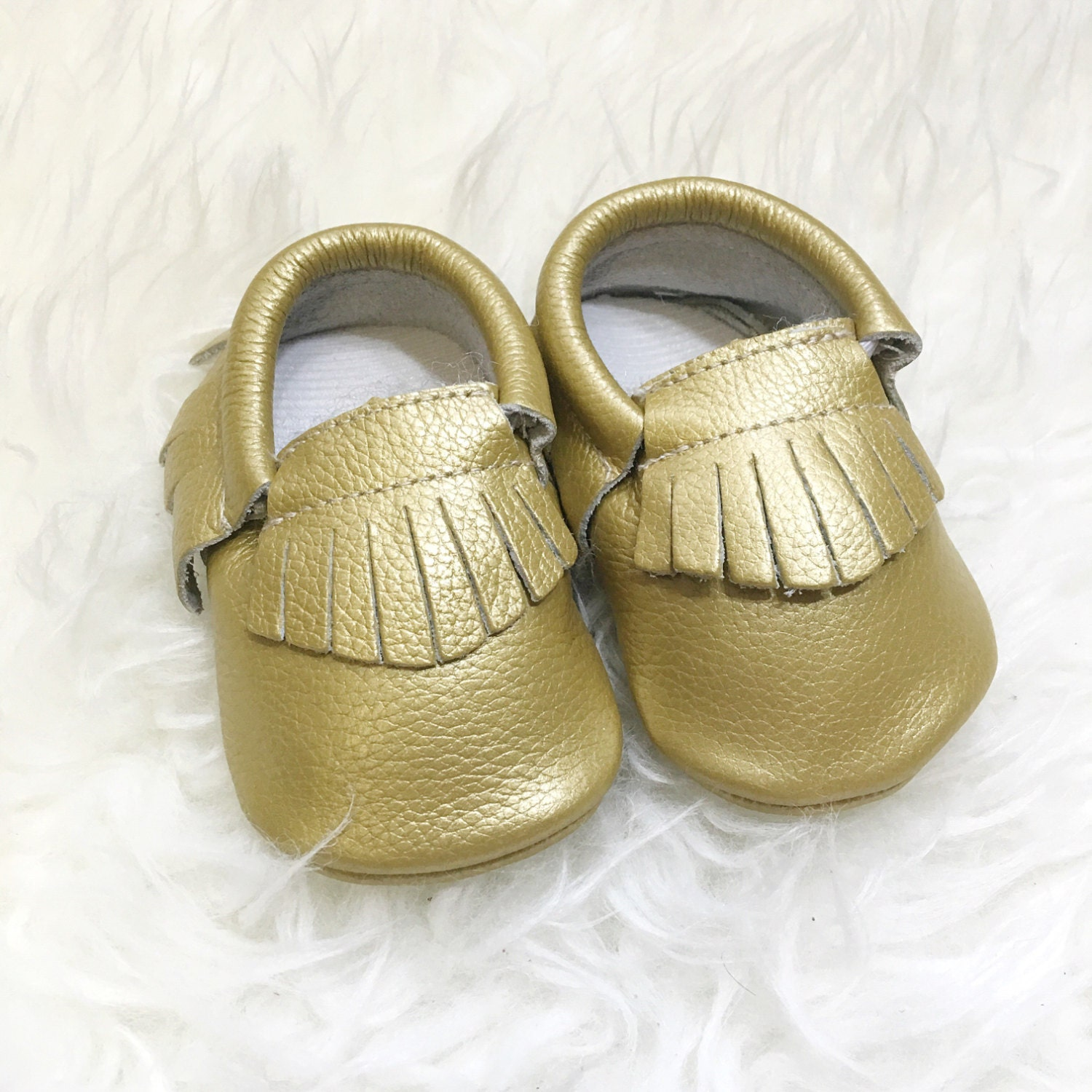 Gold crib for sale - Sale Size 3 Enchanted Gold Genuine Leather Baby Toddler Moccasins Slip On Soft Sole Crib Shoes Boy Girl Prewalker Walking