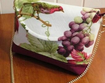 Fall Shoulder bag - Maroon chain purse - handmade fabric purse - Butterfly lover gift - Bird purse