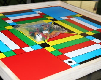 Jamaican Ludo Game Board - Large 24in x 24in Board + Game Pieces & Dice - Family Game Night Fun
