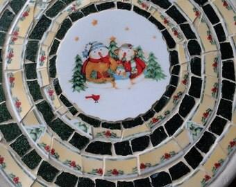Handmade Snowman Mosaic Turntable