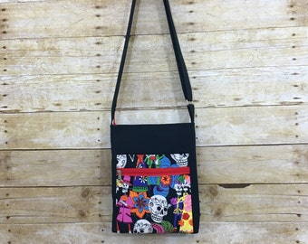 2 Zip Hipster Bag, Day of the Dead,Crossbody bag, Purse
