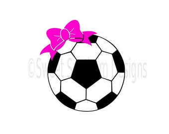 Monogram soccer ball with bow SVG instant download design for cricut or silhouette