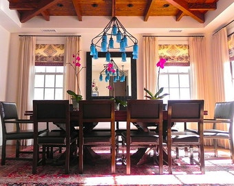 Aqua Blue chandelier light fixture.  Beautiful