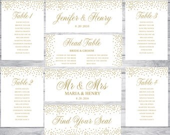 PRINTABLE Gold Confetti Wedding Seating Chart Template , Wedding Table seating assignment, Editable Text Instant Download MS Word WSTM001