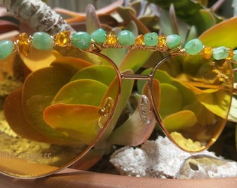 Chrysophase and Amber wrapped Sunglasses