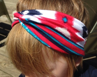 Red diamond ethnic print turban headband size 18-24 months