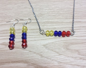 Colombian - Tricolor Set. Necklaces and earrings