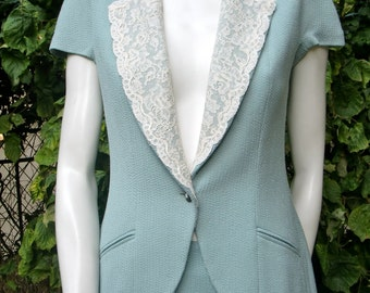 CHRISTIAN DIOR Lace and Silk Skirt Suit
