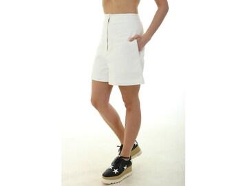 White linen shorts -  high waist shorts - women shorts - exclusive shorts - special shorts - summer shorts - spring shorts -