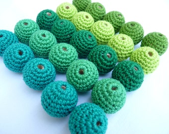 GREEN Crochet beads 25 PC / Crochet wooden beads/ ECO-friendly beads/ jewelry supplies/ Teething beads/ beading supplies/ Green mix beads