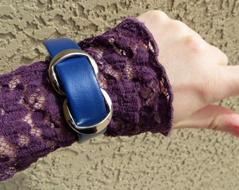 Blue Cuff Bracelet-Upcycled-Witch Bracelet-Gothic Cuff Bracelet